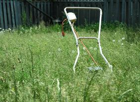 Mower in Tall Grass